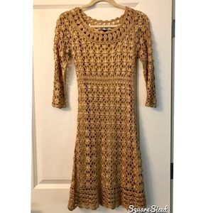 INC gold shimmer lace overlay dress size small